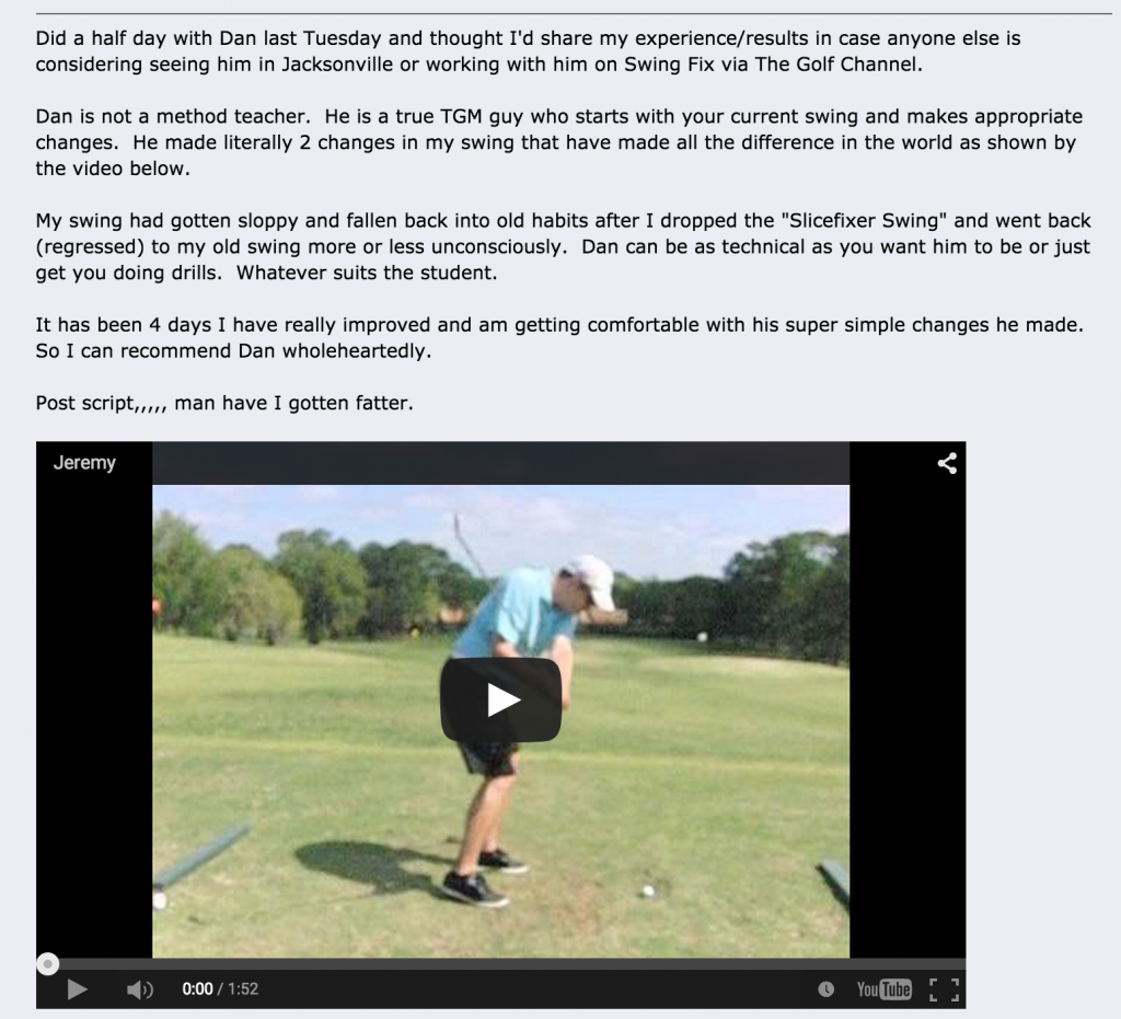 Dan Carraher Golf Instruction Review